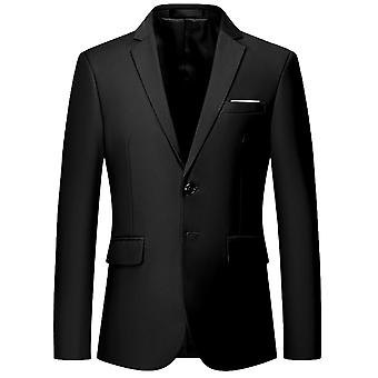 Swotgdoby Men's Business Solid Color Flat Collar Two Button Slim Fit Suit Jacket