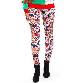 Womens Christmas Xmas Santa Snowman Printed Stretchy Leggings Trouser Pants