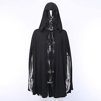 ハロウィーンの衣装JKケープブラックケープジャケット女性ロリータフード付きミディアムレングスケープ