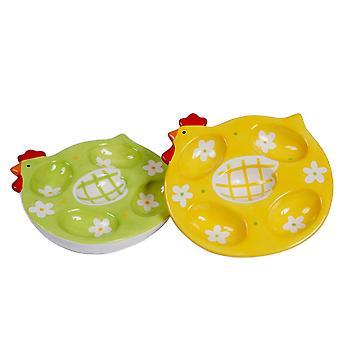 鶏デザイン セラミック卵プレート食器を提示あり