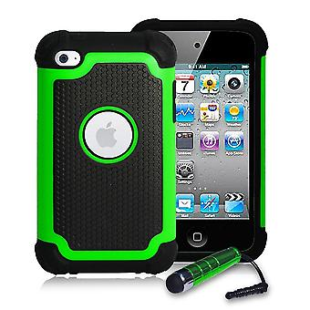 Shockproof Case Cover + stylus for Apple iPod Touch 4 - Green