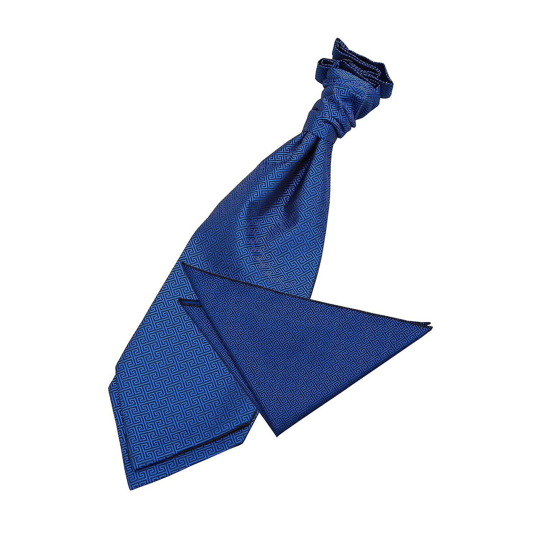DQT Greek Key Patterned Royal Blue Mens Wedding Waistcoat /& Cravat