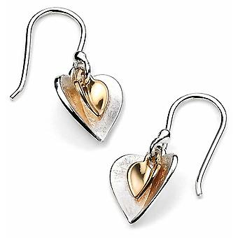 925 Silver Gold Plated Twins Heart Earring