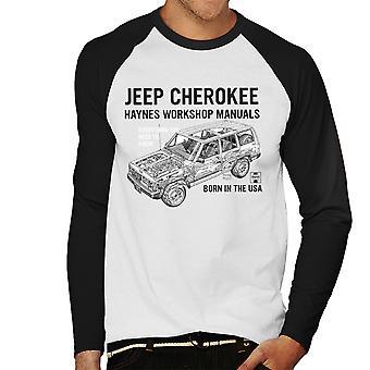Haynes omistajat työpaja manuaalinen Jeep Cherokee musta miesten Baseball pitkähihainen t-paita