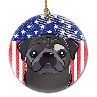 Carolines trésors BB2193CO1 American Flag et Pug noir céramique ornement