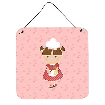 Baker Brunette on Pink Wall or Door Hanging Prints