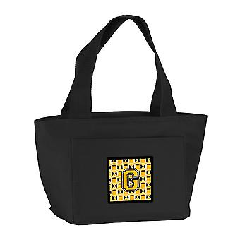 Letter G Football Black, Old Gold and White Lunch Bag