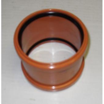 Tubería de suelo 160 mm - Acoplador recto - Push-Fit - Subterráneo - Marrón - 6''