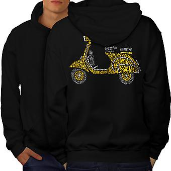 Moto Scooter Biker uomini BlackHoodie Back | Wellcoda