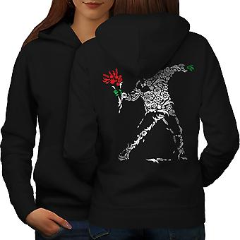 Human Flower Art Fantasy Women BlackHoodie Back | Wellcoda