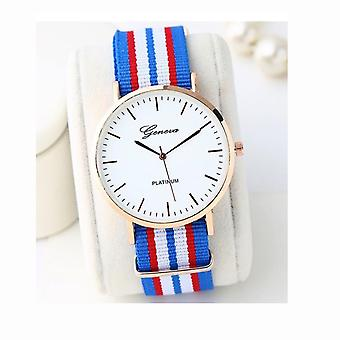 Geneva White Large Clear Dial Watch With Material Strap VPMULTI3