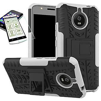 Hybrydowy pokrowiec 2 kawałek SWL biały dla Motorola Moto E4 plus + H9 hartowane szkło pokrywa