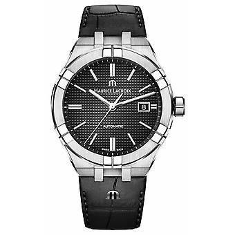 Maurice Lacroix Aikon automatique cadran noir en cuir noir AI6008-SS001-330-1 montre