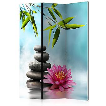 3-teiliges Paravent - Water Lily and Zen Stones [Room Dividers]