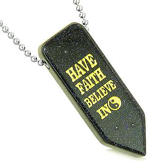 Have Faith Believe in Miracles Reversible Amulet Yin Yang Energy Arrowhead Goldstone Necklace