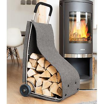 Firewood basket with wheels firewood cart mobile firewood-stand grey felt