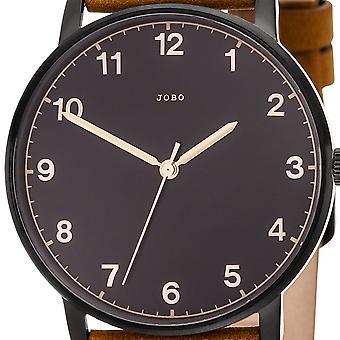 JOBO men's wristwatch quartz analog stainless steel leather strap Brown mens watch