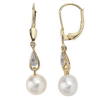 Kolczyki-585/g 0, 01 ct. Diamond Pearl kolczyki perły kolczyki genialny