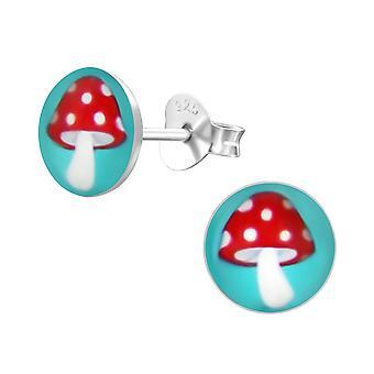 Sieni-925 Sterling hopea värikkäät korva napit-W24432X