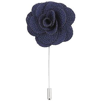 David van Hagen Flower Lapel Pin-námořnictvo/stříbro
