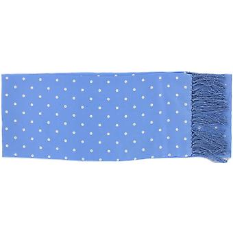 Michelsons of London Narrow Polka Dot Silk Scarf - Ice Blue
