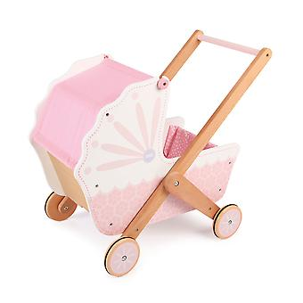 Tidlo 3 in 1 Wooden Doll's Pram Cot Bed Pushchair Pretend Role Play