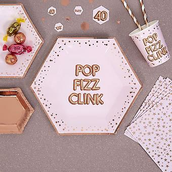 Glitz and Glamour Pink and Rose Gold Plate x 8'Pop Fizz Clink'