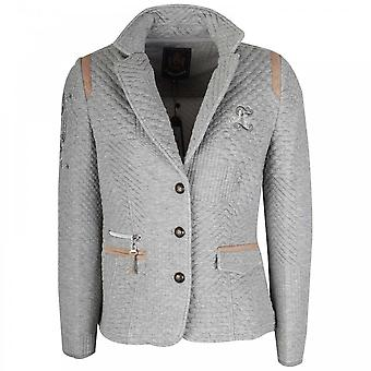 L'argentina Grey Long Sleeve Embossed Blazer