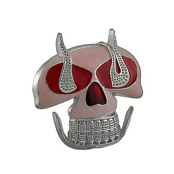 Pink / Red Enamel Flaming Skull Belt Buckle