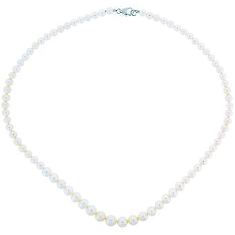 TOC Spherical Bleached White Graduated Freshwater Cultured Pearl Necklace 17.5