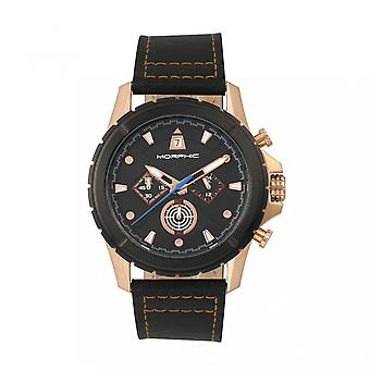 M57 morphique Series chronographe en cuir-bracelet - Rose Gold/Black