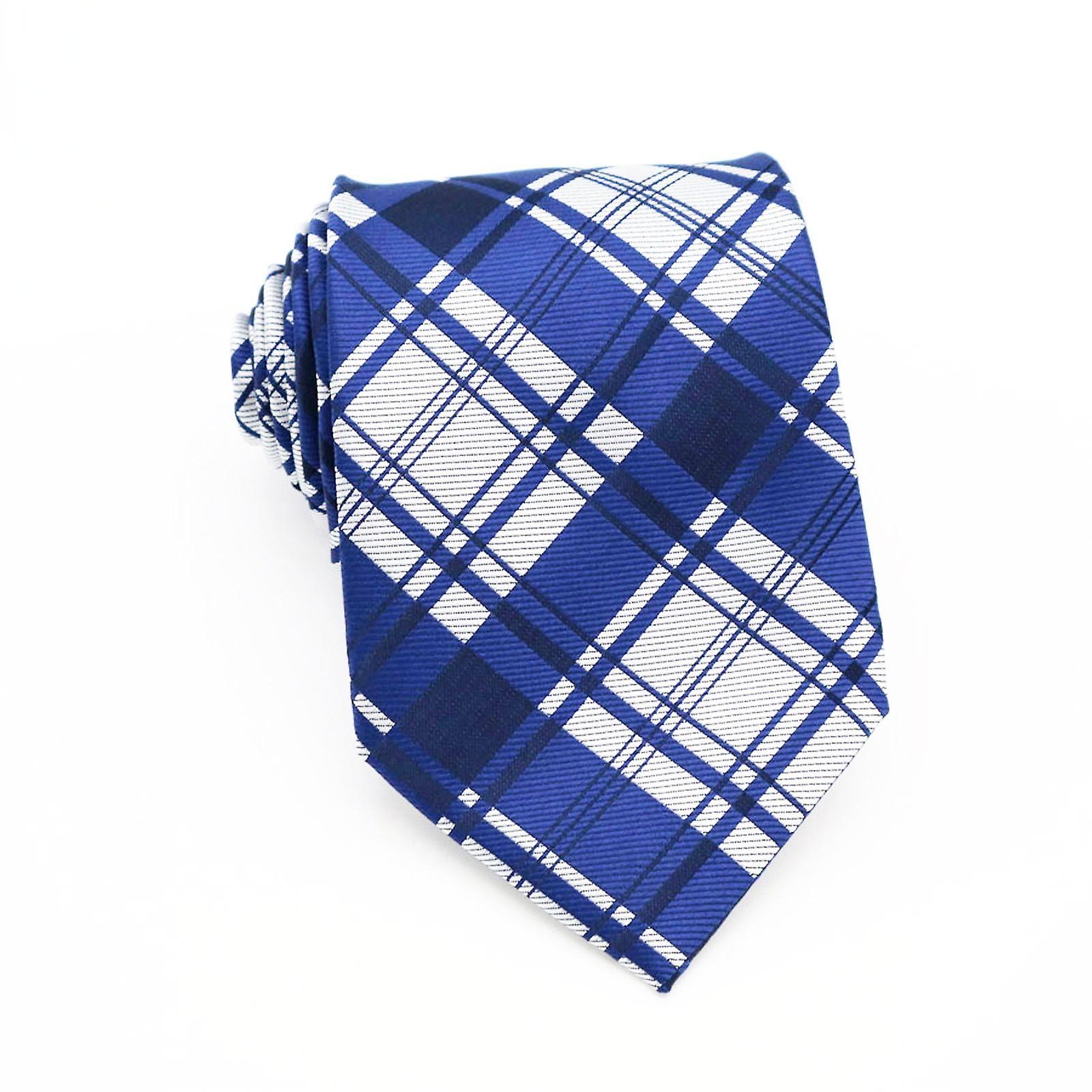 Navy blue silver & white tartan tie & pocket square
