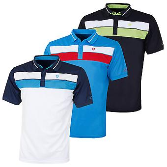 Island Green Mens Golf Ribbed 2 Stripe Polo Shirt