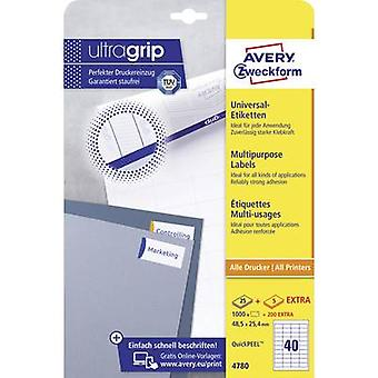 Avery-Zweckform 4780 etiketten 48,5 x 25,4 mm papier wit 1200 PC (s) permanente All-Purpose labels inkjet, laser, Copier 30 vel A4