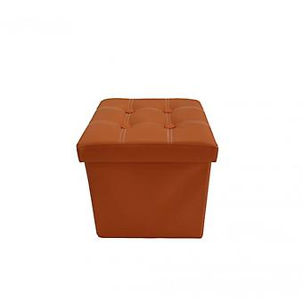 Möbel Rebecca Pouf Container Cube Ecopelle Orange Space 29x31x31