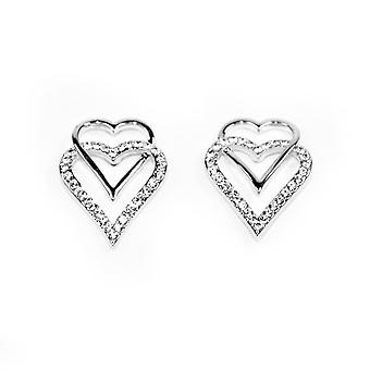 VIP Silver Plated Double Heart Crystal Set Stud Earrings