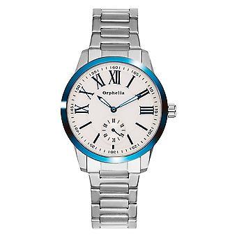 ORPHELIA Mens analoog horloge fijne ambachtelijke Silver/Blue roestvrij staal 122-7704-88