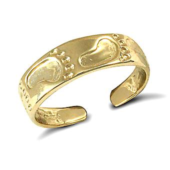 Jewelco London Ladies Solid 9ct Yellow Gold Foot Prints Carved Flat Toe Ring