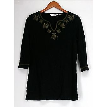 Liz Claiborne York Top Tunic w/ Embroidery Black A266173