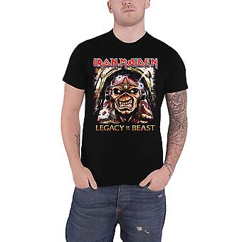 Iron Maiden T shirt legacy of the Beast Aces hoge band logo officiële mens zwart