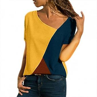 Patchwork kleur dagelijkse zomer plus blouse