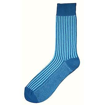 Bassin and Brown Vertical Stripe Midcalf Socks - Blue/Light Blue