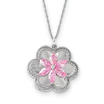 925 Sterling Silver polerad gåva Boxed Spring Ring Rhodium pläterad CZ Cubic Zirconia Simulerad Diamond söt i rosa 18