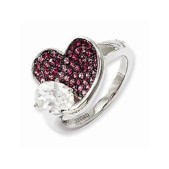 925 plata esterlina Rhodium plateado y CZ Cubic Zirconia simulado diamante brillante ascuas rosa amor corazón tamaño 6