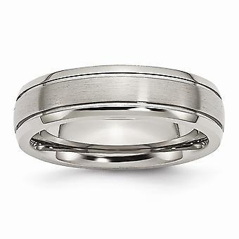 Titan gravierbare Grooved Edge 6mm gebürstet poliert Band Ring Schmuck Geschenke für Frauen - Ring Größe: 6 bis 14