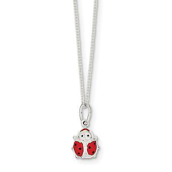 925 Sterling Silver Solid Enamel Glitter Polished Spring Ring Ladybug Necklace 14 Inch - 2.2 Grams