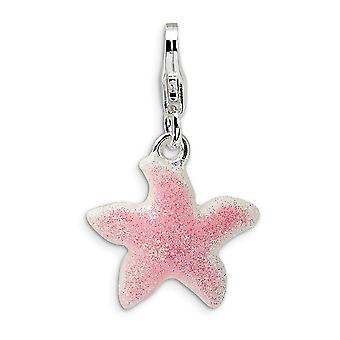 925 Sterling Silver Rhodium plated Fancy Lobster Closure Enameled Pink Sparkle Sea shell Nautical Starfish With Lobster