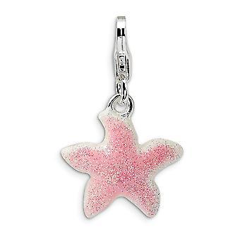 925 Sterling Silver Rhodium pläterad Fancy Lobster Stängning Enameled Pink Sparkle Sea skal Nautiska sjöstjärna med hummer