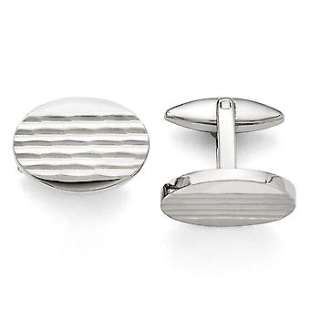 Stainless Steel Polished and Matte Oval Cuff Links Jewelry Gifts for Men