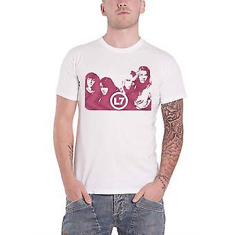 L7 T Shirt Warp Band Logo neue offizielle Herren weiß